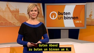 Screenshot Untertitelung buten un binnen um 6: Kirsten Rademacher im Studio