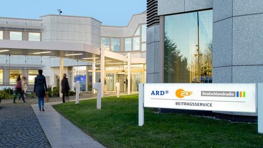 Eingangsbereich des Beitragsservices von ARD, ZDF und Deutschlandradio in Köln.