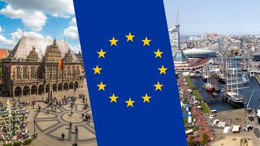 Der Bremer Marktplatz und die Hafenwelten in Bremerhaven, dazwischen die EU-Flagge.