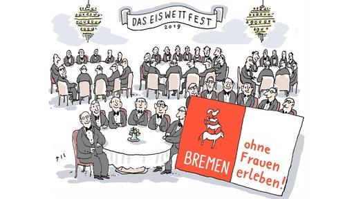 Karikatur zum Eiswettfest: Bremen ohne Frauen erleben!