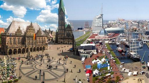Der Bremer Marktplatz und die Hafenwelten in Bremerhaven