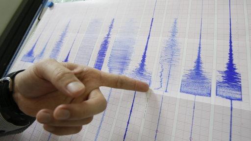 Ein Mann zeigt auf einen Seismographen.