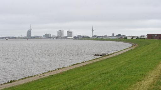 Ein Deichabschnitt an der Weser