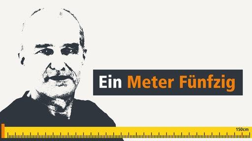 Ein Konterfei von Jochen Grabler, unten sieht man einen Zollstock der bei 150cm markiert ist.