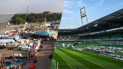 Bildmontage: Der Bremer Freipark vor der Eröffnung und das Weser-Stadion mit leeren Rängen nebeneinander.