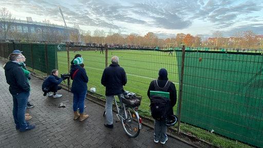 Fans schauen beim Werder-Training durch den herausgeschnittenen Banner auf den Platz.