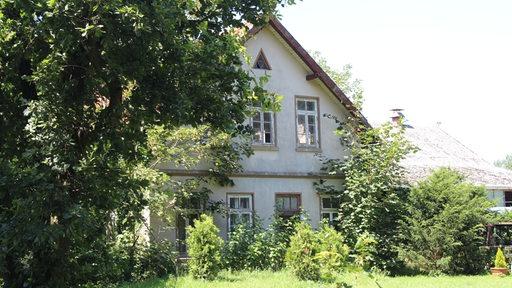 Ein heruntergekommenes Haus steht auf einem verwilderten Grundstück.
