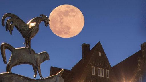 Der Mond über den Bremer Stadtmusikanten. (Bildmontage)