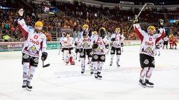 Die Spieler der Fischtown Pinguins bejubeln nach dem Spiel einen Sieg.