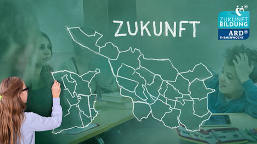 Eine Karte von Bremerhaven und Bremen, mit Kreide auf eine Tafel gemalt, dahinter Abbildungen von einem Grundschüler und mehreren Abiturientinnen.