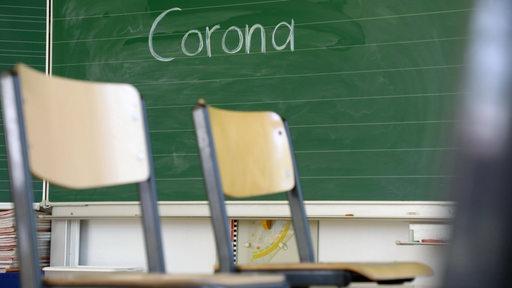 Stühle auf dem Tisch - leeres Klassenzimmer der 2. Klasse einer Grundschule, an der Tafel steht das Wort Corona. (Symbolbild)