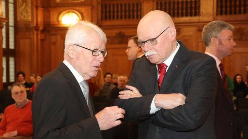 Reinhard Rauball und Ulrich Mäurer bei der Verhandlung um Polizeikosten bei Risikospielen vor dem Bundesverwaltungsgericht