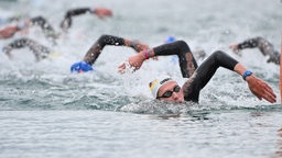 Schwimmer Florian Wellbrock bei der EM in Budapest auf der zehn Kilometer Strecke im Freiwasser.