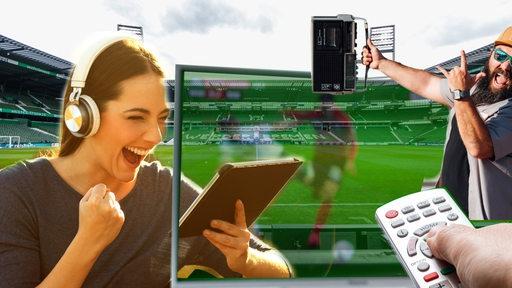 Collage zeigt eine jubelnde Frau mit Kopfhörern vor einem Tablet, einen jubelnden Mann mit Radiogerät in der Hand, einen Fernseher mit Fernbedienung und im Hintergrund das Weserstadion