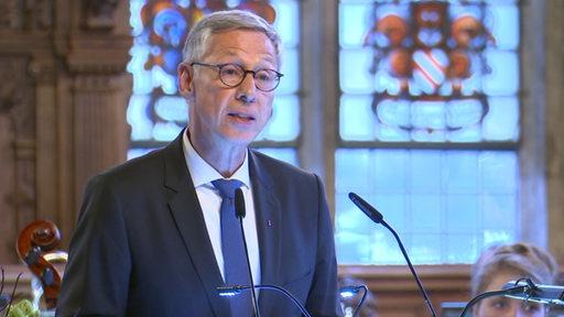 Bürgermeister Carsten Sieling spricht beim Neujahrsempfang im Bremer Rathaus