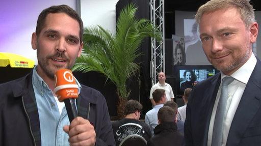 Reporter Immo Maus im Interview mit FDP-Bundesvorsitzenden Christian Lindner.