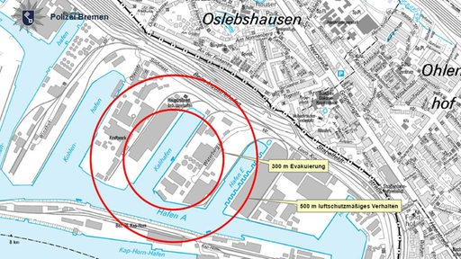 Evakurierungskreis in einer Karte