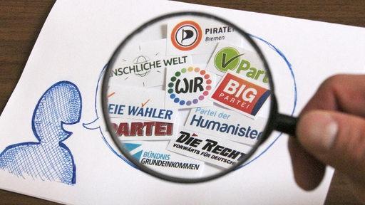 Eine Lupe über den Logos der kleinen Parteien, die zur Bremer Bürgerschaftswahl antreten wollen.
