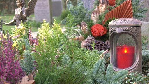 Eine LED-Grablicht steht zwischen Pflanzen vor einem Grabstein.