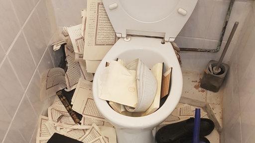 In einer Toilette liegen Bücher und zerissene Bücherseiten.