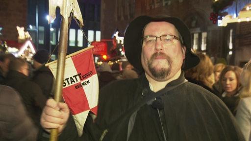 Nachtwächter Markus in der Bremer Innenstadt.