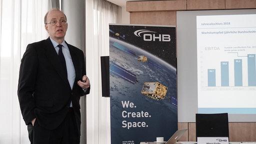 Marco Fuchs präsentiert den Jahresabschluss 2018 von OHB