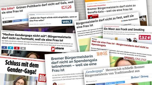 Eine Collage aus Überschriften von verschiedenen Medien zu dem Thema, dass die Bürgermeisterin Caroline Linnert nicht am Eiswettfest teilnehmen durfte.