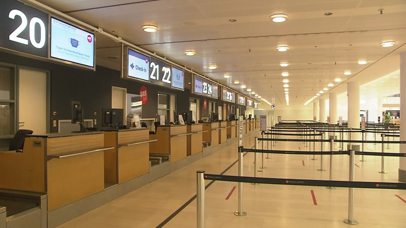 Empty counters at Bremen Airport.