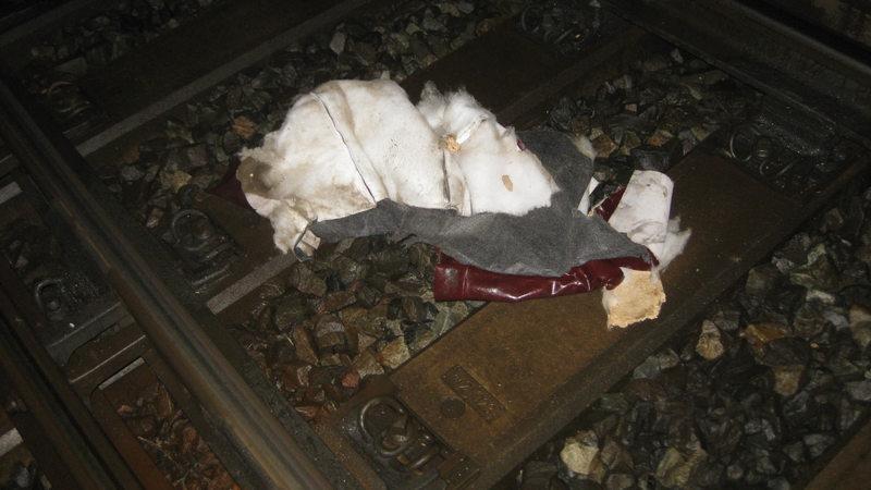 Sofa Auf Bahngleisen Von Güterzug Erfasst Und Zerschmettert Buten