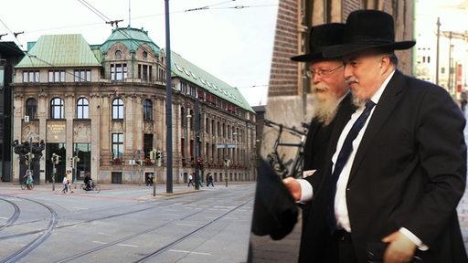 Bildmontage: die beiden Schapira-Brüder neben dem historischen Gebäude der Sparkasse Bremen am Brill.