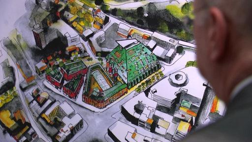 Skizze eines neuen Plans für das Sparkassenareal in der Innenstadt
