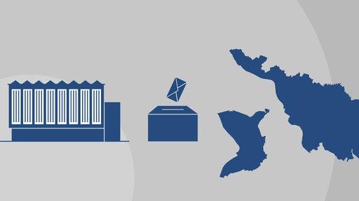Piktogramme von der Bremer Bürgerschaft, einer Wahlurne mit Wahlschein und von Bremen und Bremerhaven