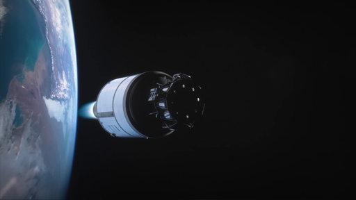 Oberstufe der Ariane 6 fliegt durch das All, im Hintergrund die Erde