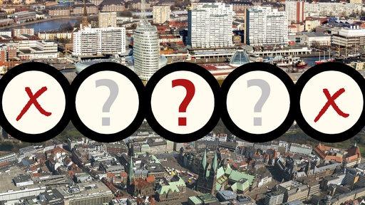 Eine Montage aus Luftbildern von Bremen und Bremerhaven, darüber drei Kreise und ein Fragezeichen.