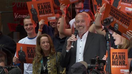 Spitzenkandidat der CDU Carsten Meyer-Heder auf der Wahlparty nach Verkündung der ersten Hochrechnung