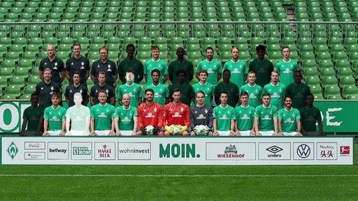Die gesamte Mannschaft von Werder Bremen. Verletzte Spieler sind verdunkelt.